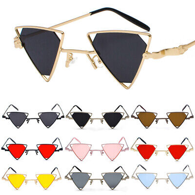 Small Triangle Steampunk Sunglasses Hollow Metal Frame Hippie Punk Eye (Small Ladies Sunglasses)