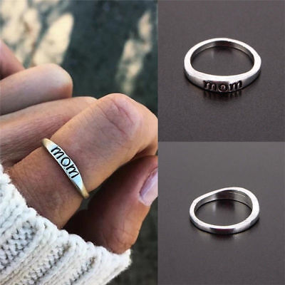 Fashion Vintage Mom Mother Silver Rings Holiday Gifts Love Jewelry Gift