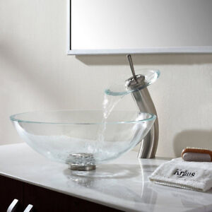 Satin Nickel Clear Glass Vessel Sink and Waterfall Faucet
