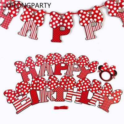 Minnie Mouse Banner (Cute Minnie Mouse Banner Flags Girls Birthday Party Supplies Bunting 2.5m)