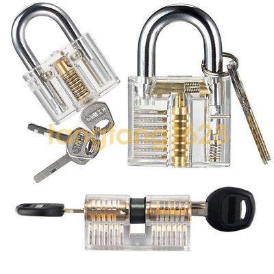3pcs Clear Practice Lock Transparent Cutaway Pin Tumbler Padlockdiscdimple