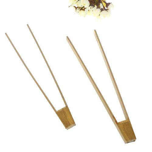 2x Bambus Clip Kochen Küche Zange Essen  Werkzeug Steak Kuchen Holz Clip WRAB