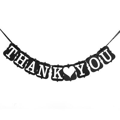 Thank You Banner (THANK YOU Burlap Party Banner Wedding Favor Decor Sign Black w/ Ribbon)