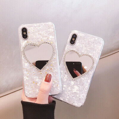 Glitter Bling Heart Shape Mirror Case TPU Soft Cover for iPhone X XR MAX 6 7 8