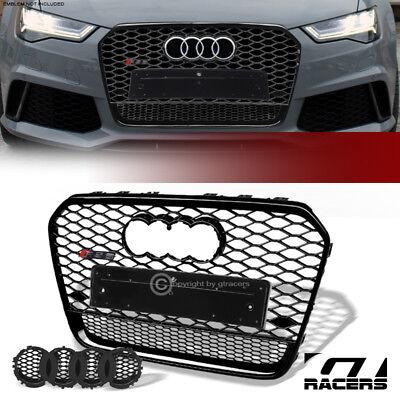 For 2012-2015 Audi A6 C7 Black RS Honeycomb Mesh Front Bumper Grille+Emblem Base