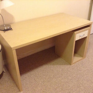 IKEA desk - light birch with extra stand with drawer