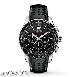 MOVADO SERIES 800 BLACK LEATHER BAND STEEL CASE CHRONOGRAPH MEN'S WATCH 2600096