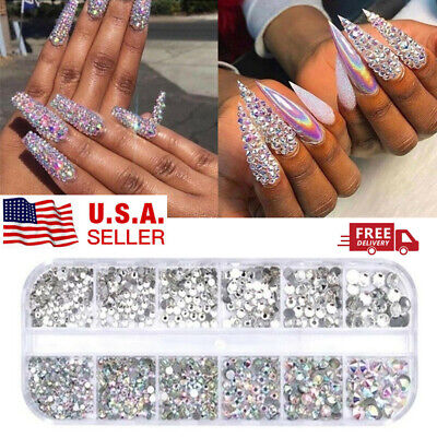 12 Box Crystal Rhinestone Jewelry Glass 3D Glitter Diamond Gem Nail Art Decor US