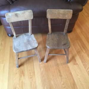 Pair of Antique Wood Childrens Chairs