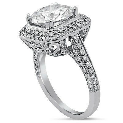 9MM Round Cut Moissanite & Diamonds Engagement Ring Micropave Set R176