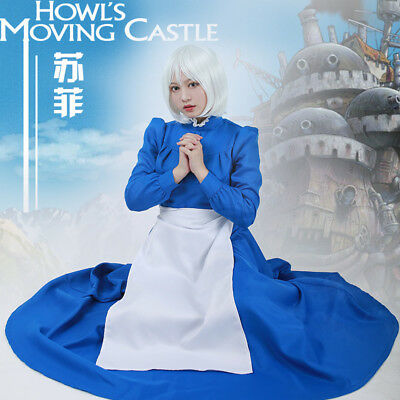 Howl's Moving Castle Sophie Blue Cosplay Costume Dress Apron Woman