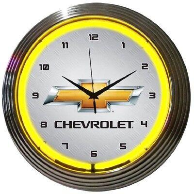 Chevrolet Bowtie Neon Clock - GM - Chevy - Parts Sales Service - Bow Tie