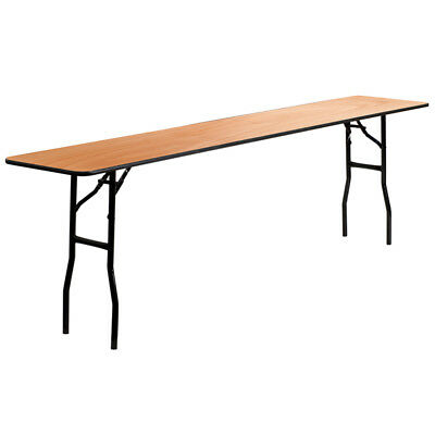 18x 96 Wood Folding Training Seminar Table With Smooth Clear Coated Finish