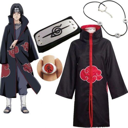 NARUTO Anime Cosplay Costume Akatsuki Uchiha Itachi Headband Necklace Ring