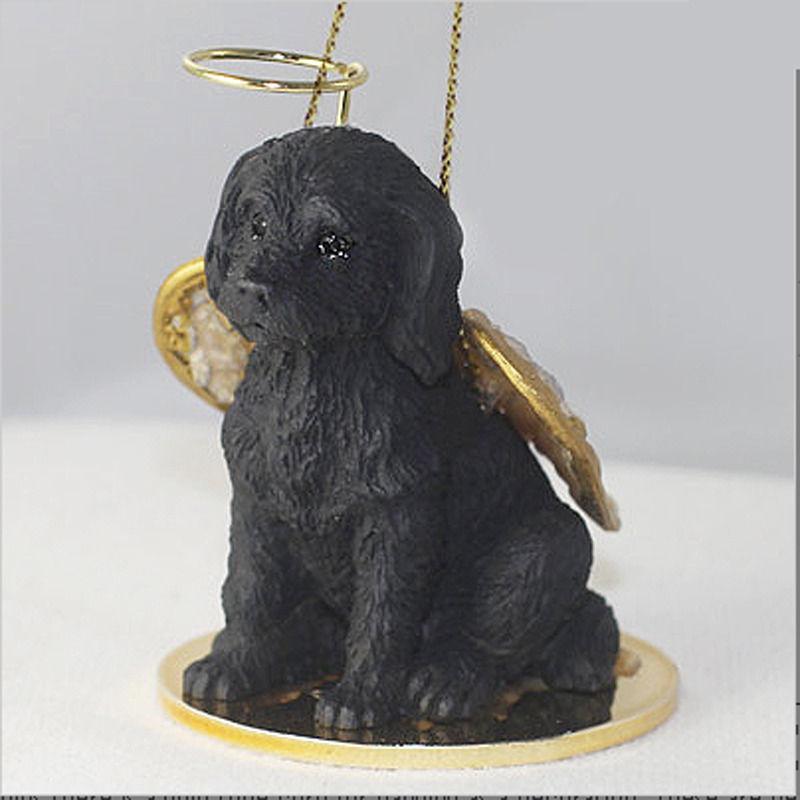 Labradoodle Ornament Angel Figurine Hand Painted Black