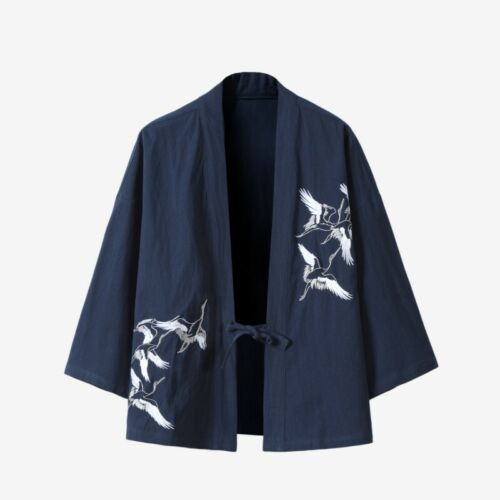 Mens Cardigan Robe Chinese Style Crane Embroidery Vintage Cotton and Linen Kimono Male