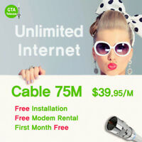 75Mbps Unlimited Internet 39.95$, Free Installation and Modem