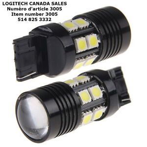 2X White T20 10W 7440 7443 Cree R5 Optical Projector 12 SMD LED