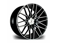 "*Load Rated* Black Polished x4 20"" Stuttgart ST8 Alloys 10J Et38 VW T5 T6 T6.1"