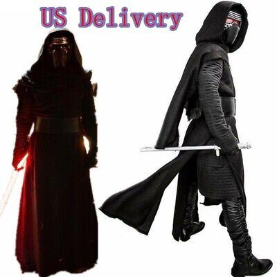 Kylo Ren Cosplay Costume Star Wars Gloves Belt Robe Prop Outfits Halloween Adult