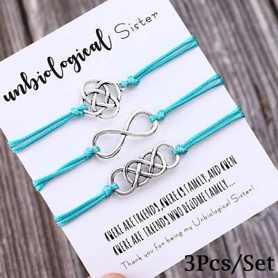 3Pcs/Set Charm Friendship Bracelets Unbiological Sister Best Friend