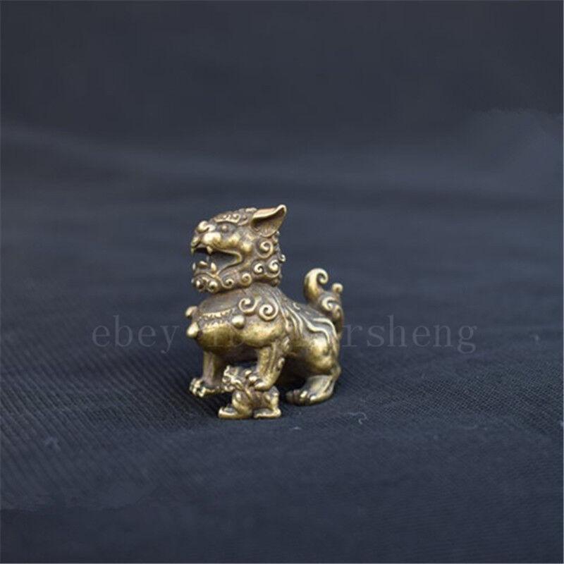 Chinese antique pure copper lion figurine auspicious pendant  狮子