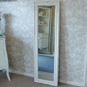 Ivory cream ornate wall mirror tall shabby freestanding hanging chic