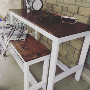 Rustic Country Chic Harvest Table with matching bench