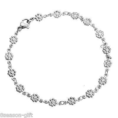 Flower String Bracelet Jewelry - 1PC HOT Fashion Silver Steel Flower String Lobster Clasp Chain Bracelet 20cm