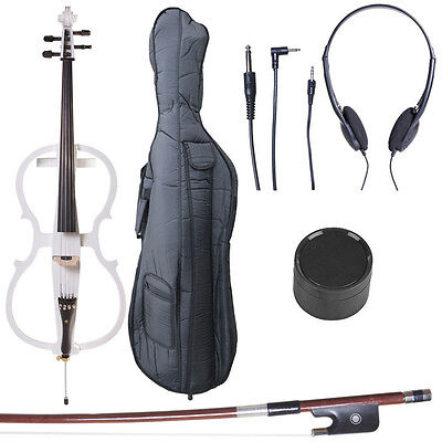 4/4 Electric Cello Full Size Ebony Style 1 ~Pearl White