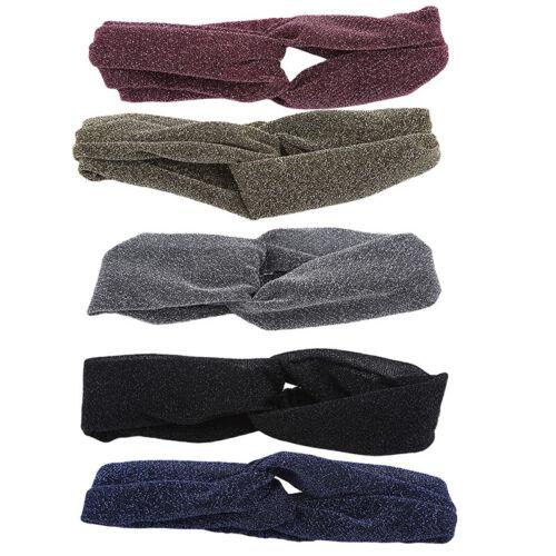 Shiny Stretch Turban Headbands Elastic Women Solid Head Wrap