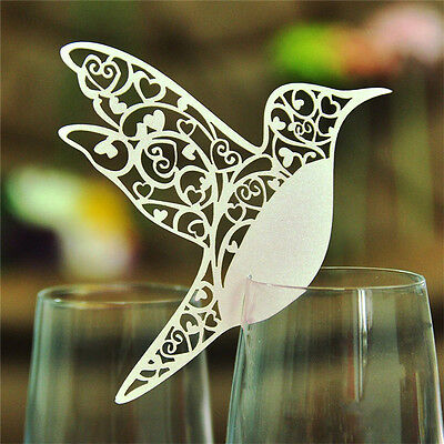 Bird Wedding Names Place Cards For Wine Glass Lasers Cuts On Pearlescent Cards