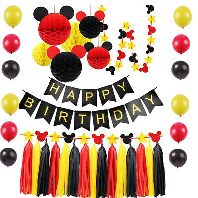 Mickey Theme Birthday Party Supplies Backdrop YELLOW BLACK RED Party Decor