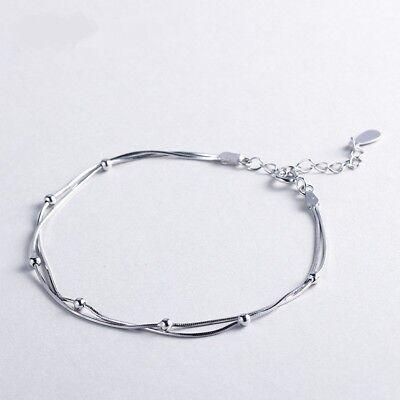 Damen Armband 925 Sterling Siber Doppelkette Schmuck TOP