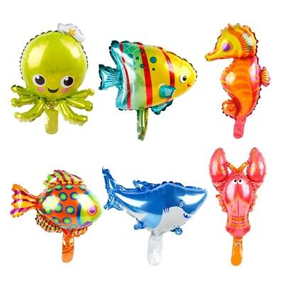 6PCS Lovely Ocean Octopus Shark  Fish Foil Balloons Animal Birthday Party Decor - Fishing Birthday