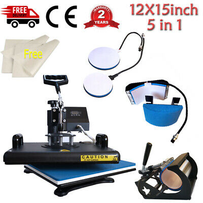 5in1 Combo Heat Press Machine Swing Away Digital Sublimation For T-shirt Mug Hat