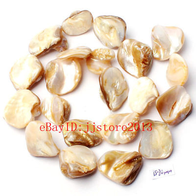 - 15-20mm Natural White Shell MOP Freeform Shape Gemstone Loose Beads Strand 15