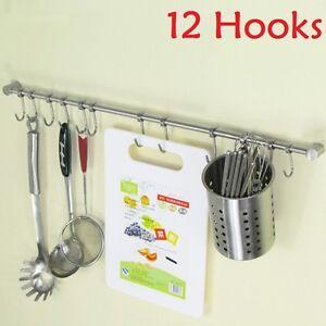 12 Hooks Kitchen Utensil & Cupboard Wall Hanging Rail Rack Bathroom Holder Tool