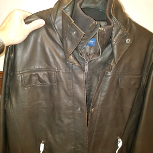 Men's Medium Leather Bomber Jacket with liner - never worn!