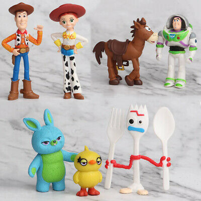 7PCS Toy Story 4 Woody Lightyear Alien Forky Buzz Bunny Figure Cake Topper Toys