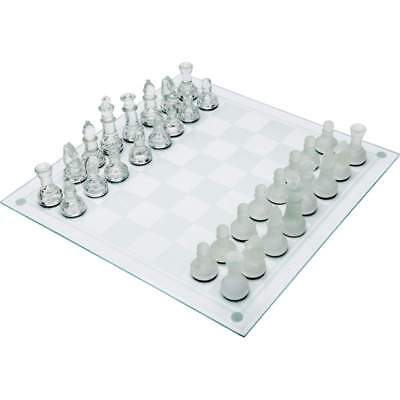 "Maxam Classic Glass Chess Set with Elegant Frosted Glass Pieces & 13-3/4"" Board"