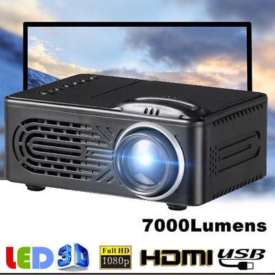 7000Lumen 3D 1080P Full HD Mini Projektor LED Beamer Multimedia Heimkino AV USB
