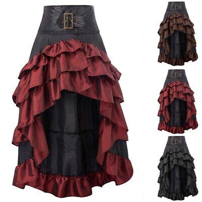 Women Vintage Gothic Victorian Ruffled Skirt High Waist Steampunk Dresses