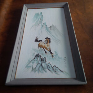 Amateur Artist's Framed Painting of Horse