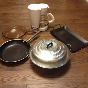 Coffee pot, wok and frying pans