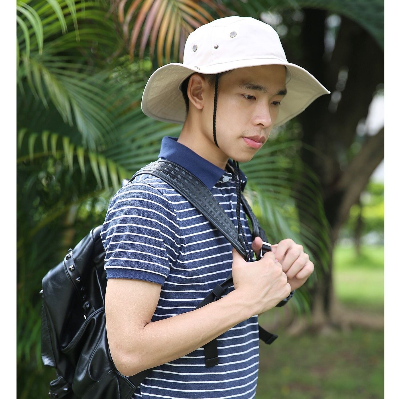Men's Bucket Hat Side Snap Boonie Hat Outdoor UV Sun Protect