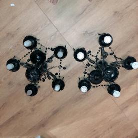 Two black chandelier