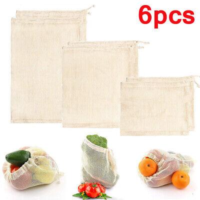 6er Set Obst- und Gemüsebeutel wiederverwendbar plastikfrei Gemüse-Netz Lagerung
