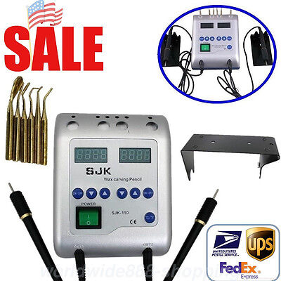 6 Tip Dental Lab Digital Electric Wax Waxer Carver Double Carving Penpencil New