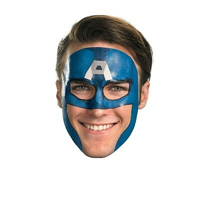 Captain America Tattoo Face Mask, Blue, Disguise